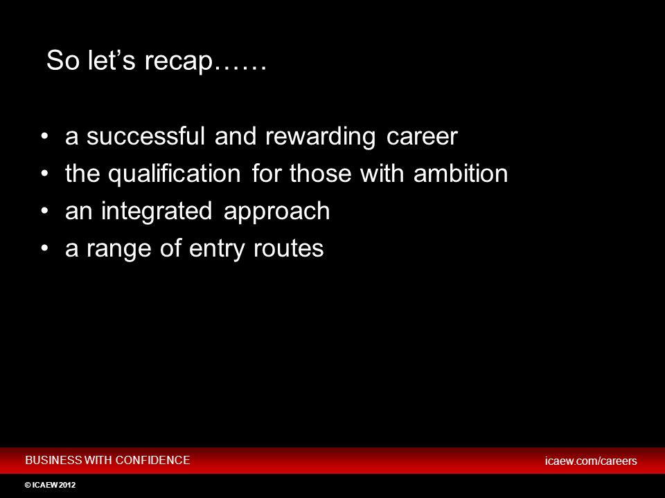 So let's recap…… a successful and rewarding career