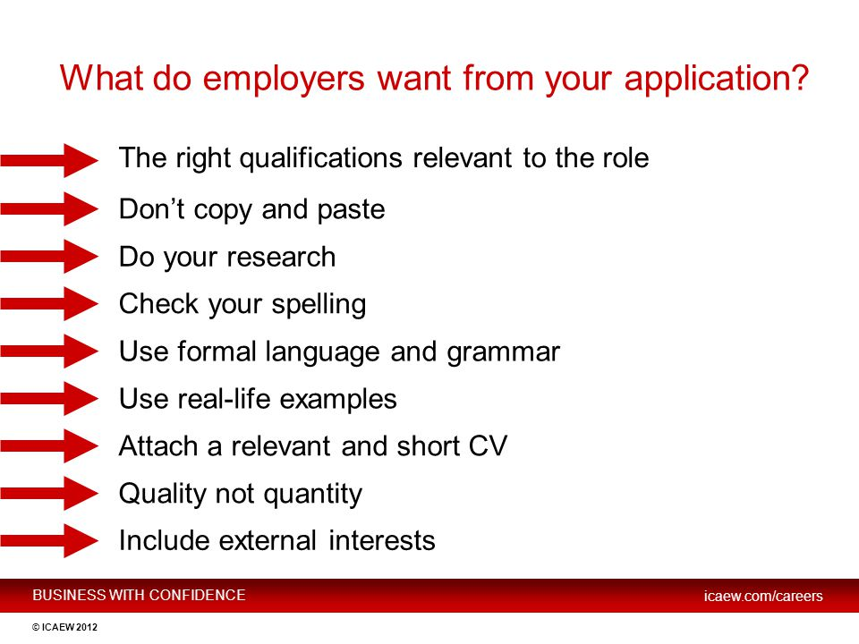 What do employers want from your application