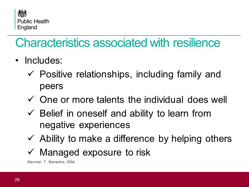 Characteristics associated with resilience