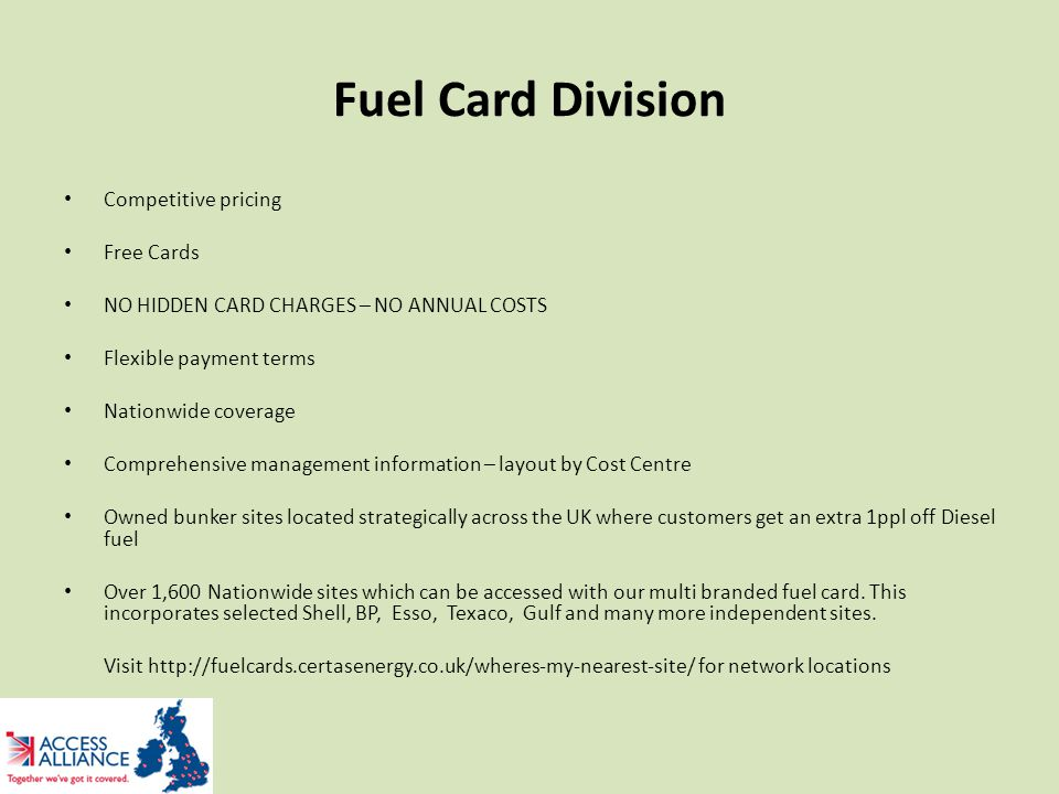 Fuel Card Division Competitive pricing Free Cards