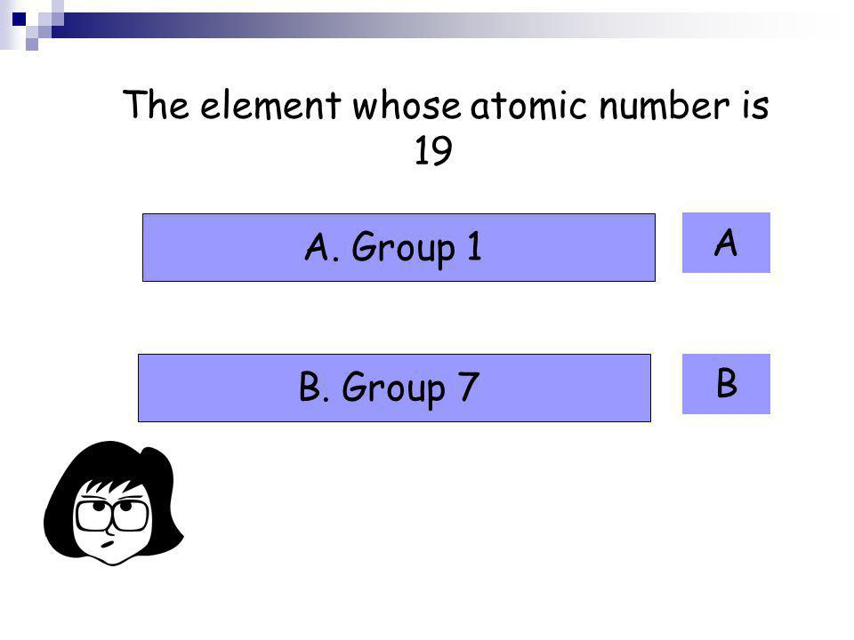 The element whose atomic number is 19
