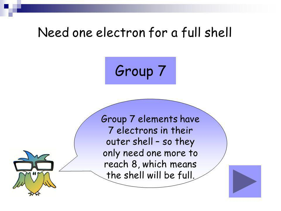 Need one electron for a full shell