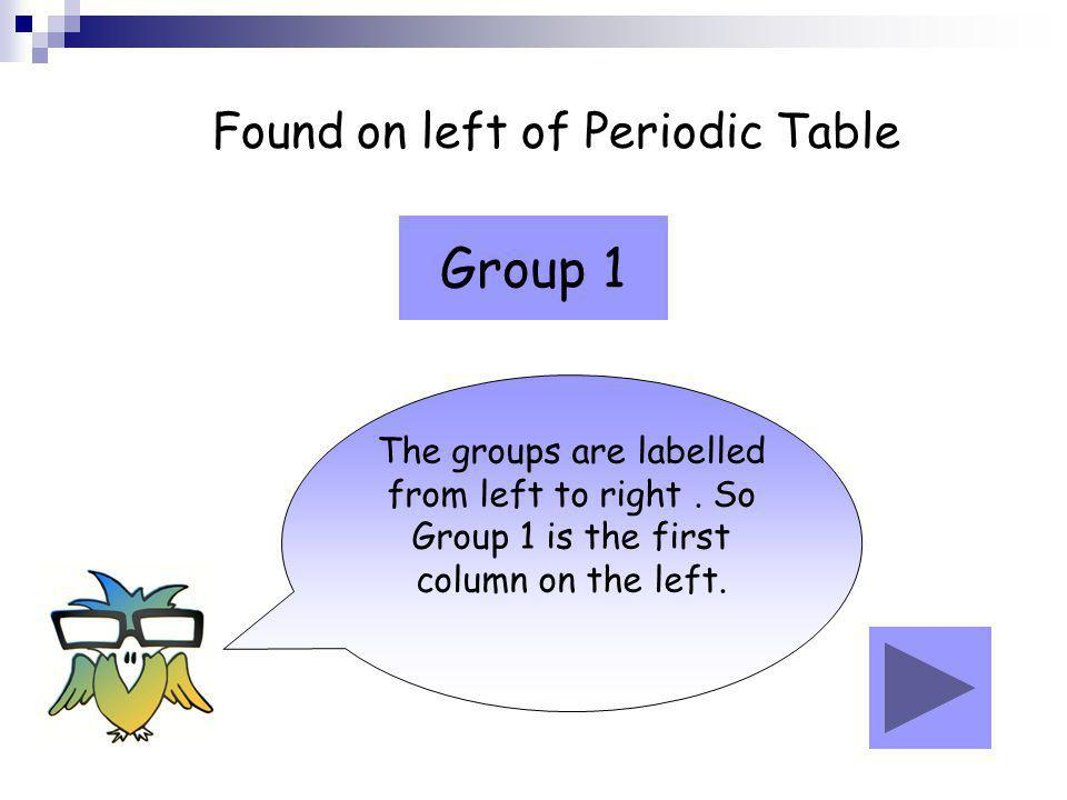 Found on left of Periodic Table