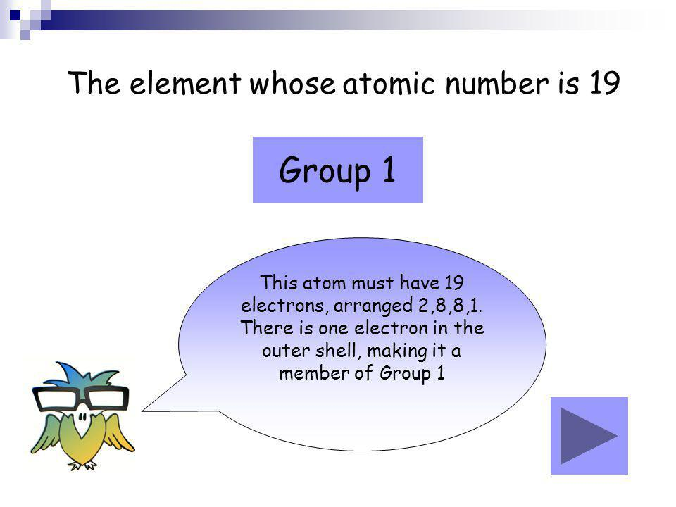 Group 1 The element whose atomic number is 19