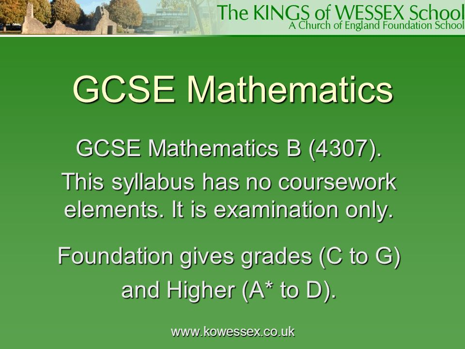 GCSE Mathematics GCSE Mathematics B (4307).