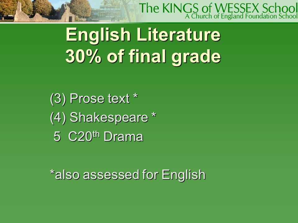 English Literature 30% of final grade