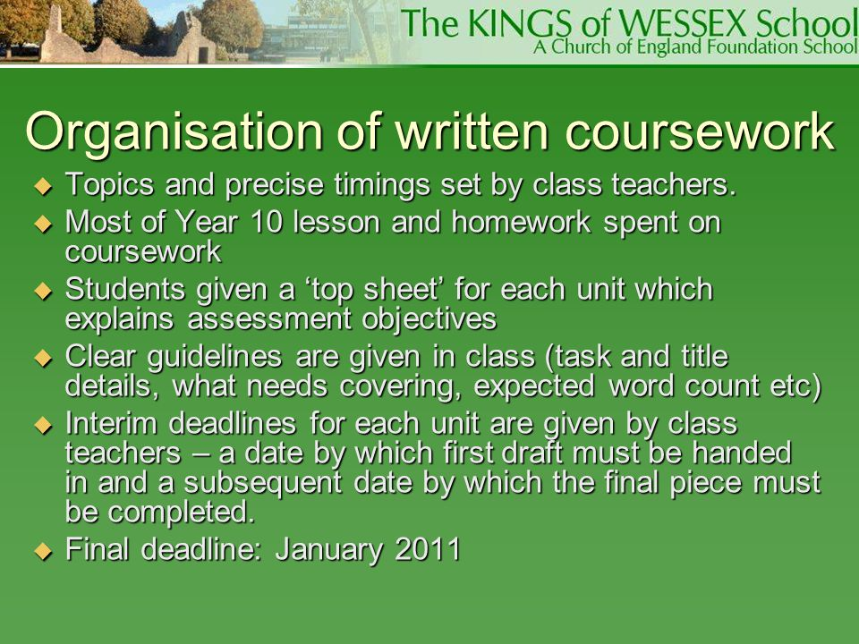 Organisation of written coursework