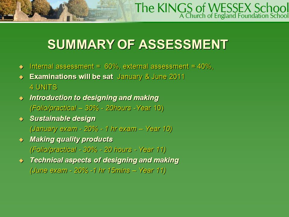 SUMMARY OF ASSESSMENT Internal assessment = 60%, external assessment = 40%, Examinations will be sat January & June 2011.