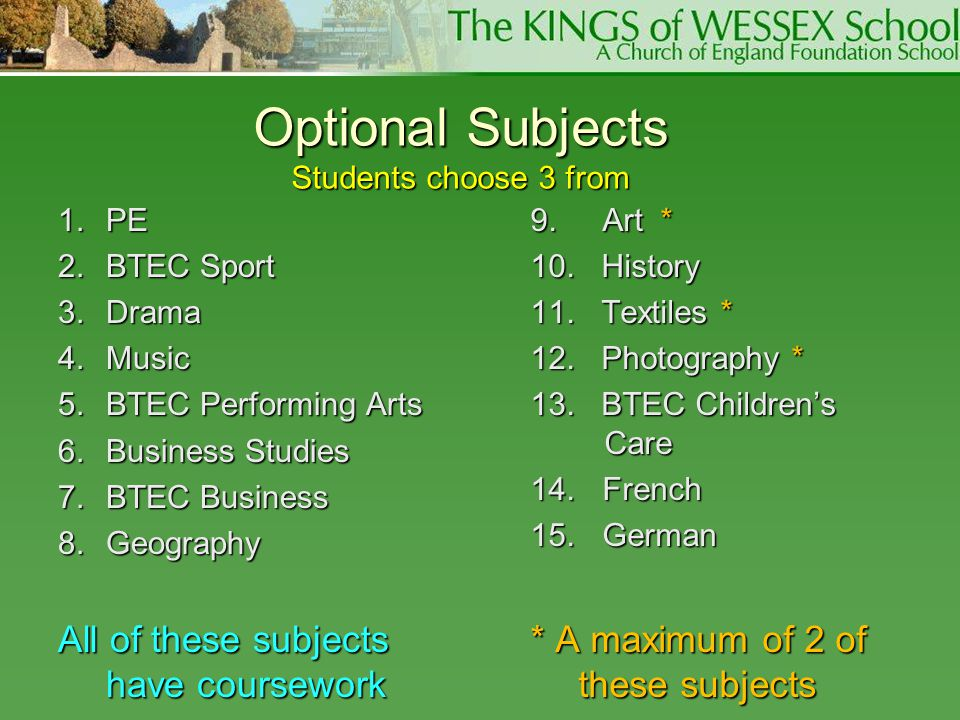 Optional Subjects Students choose 3 from