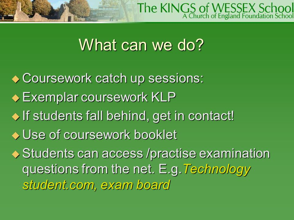 What can we do Coursework catch up sessions: Exemplar coursework KLP