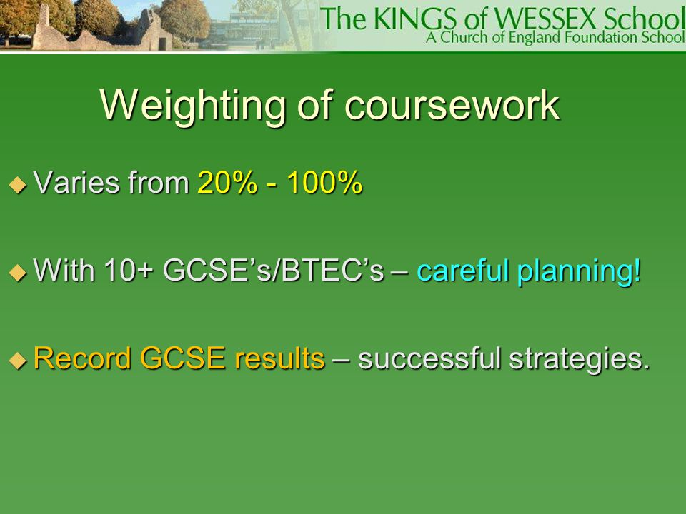 Weighting of coursework