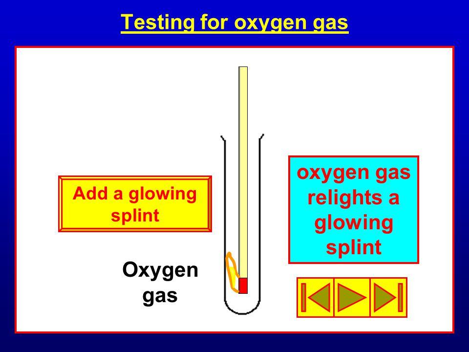 oxygen gas relights a glowing splint