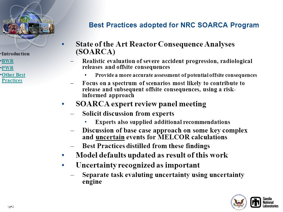 Best Practices adopted for NRC SOARCA Program