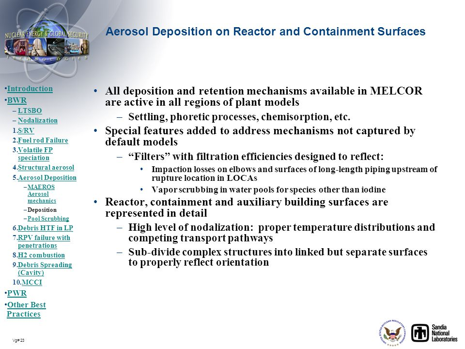 Aerosol Deposition on Reactor and Containment Surfaces