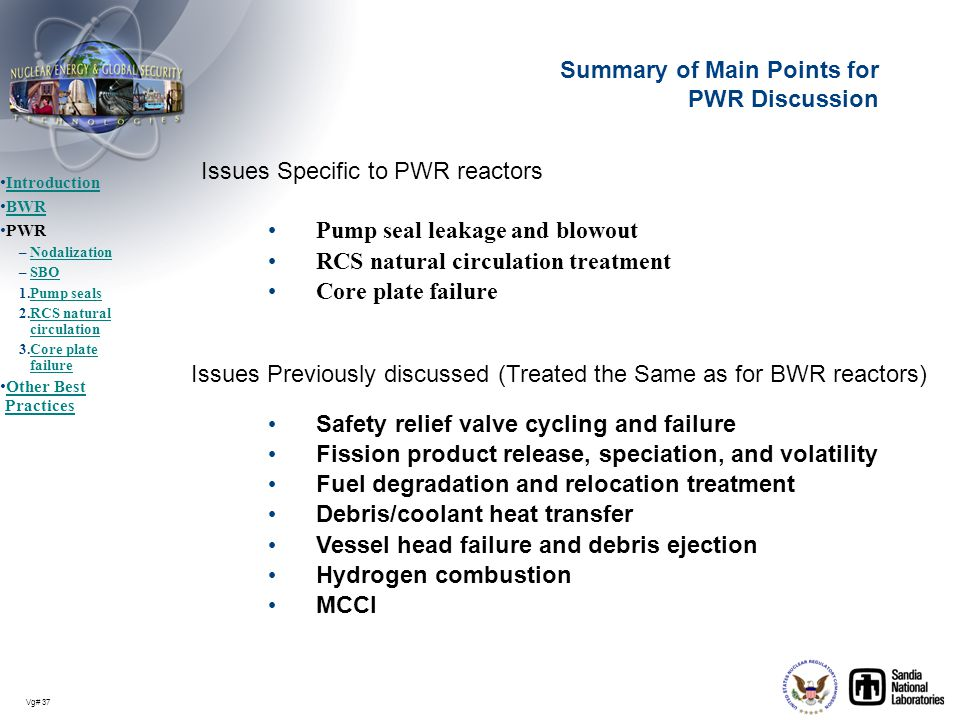 Summary of Main Points for PWR Discussion
