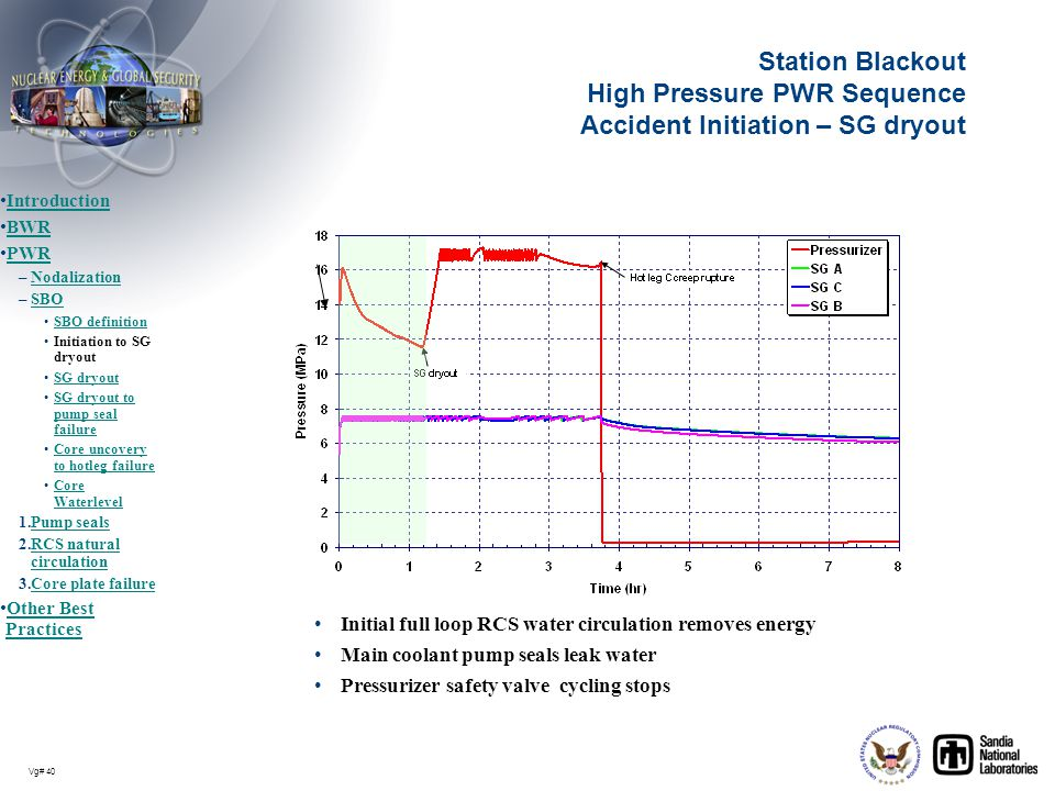 Station Blackout High Pressure PWR Sequence Accident Initiation – SG dryout
