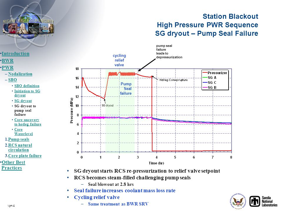 Station Blackout High Pressure PWR Sequence SG dryout – Pump Seal Failure