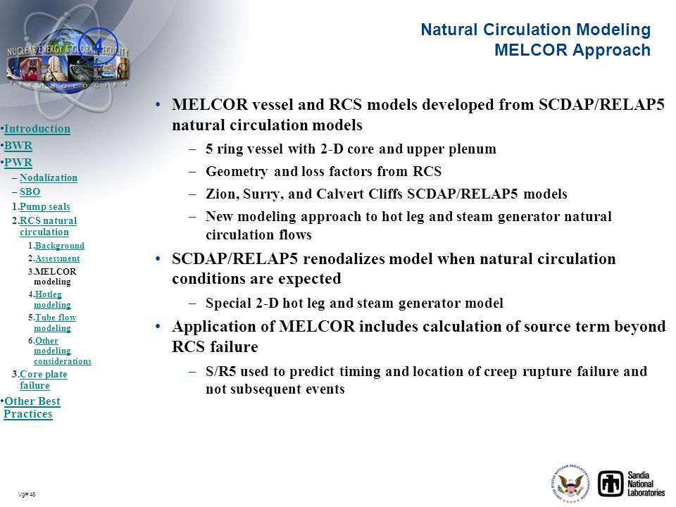 Natural Circulation Modeling MELCOR Approach