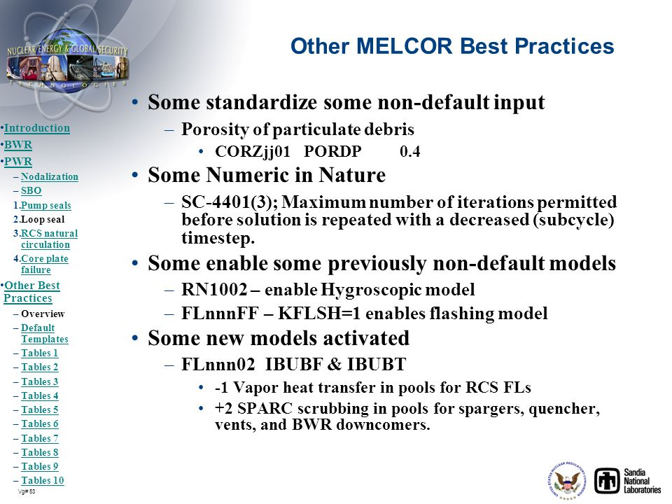 Other MELCOR Best Practices