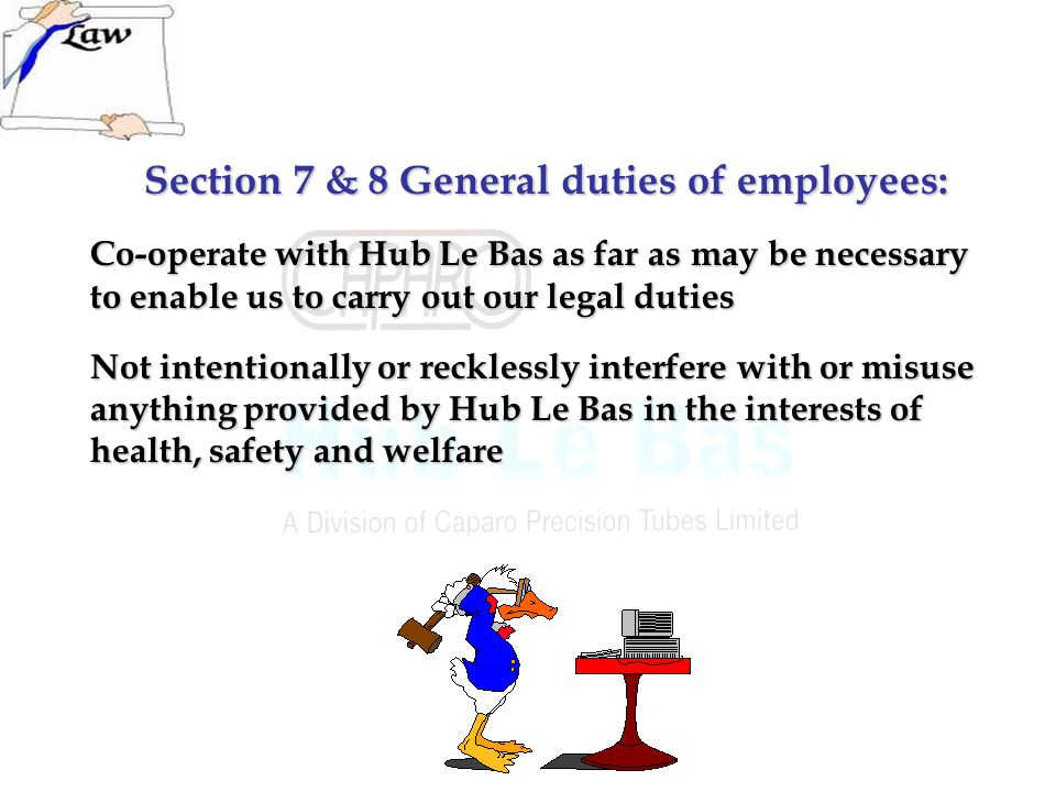 Section 7 & 8 General duties of employees: