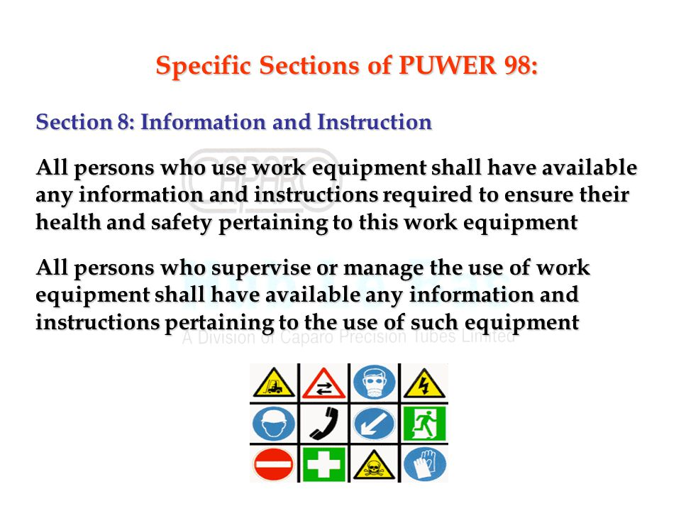 Specific Sections of PUWER 98: