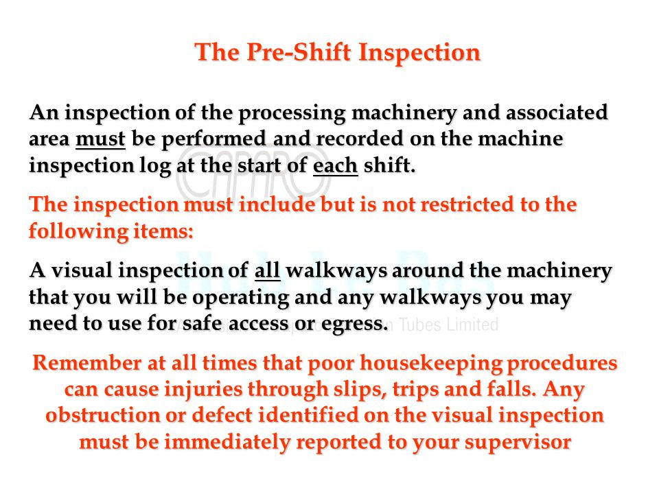 The Pre-Shift Inspection