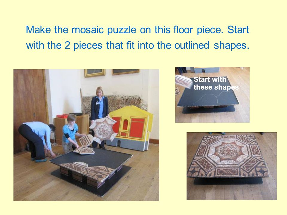 Make the mosaic puzzle on this floor piece