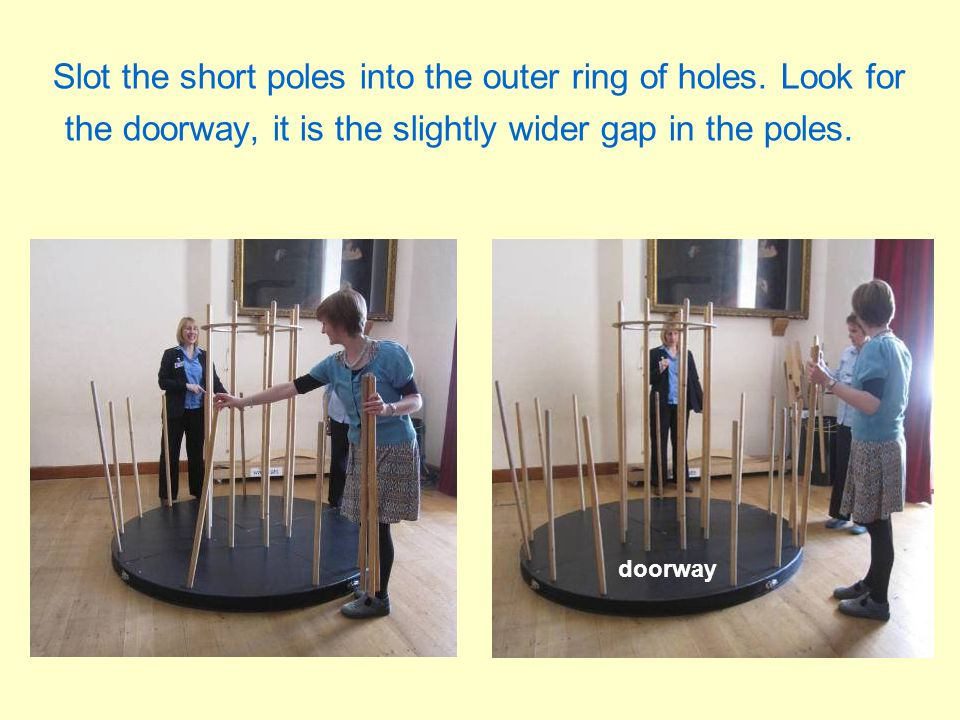 Slot the short poles into the outer ring of holes