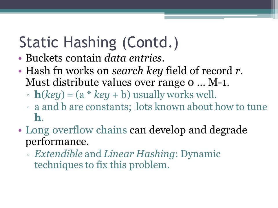 Static Hashing (Contd.)