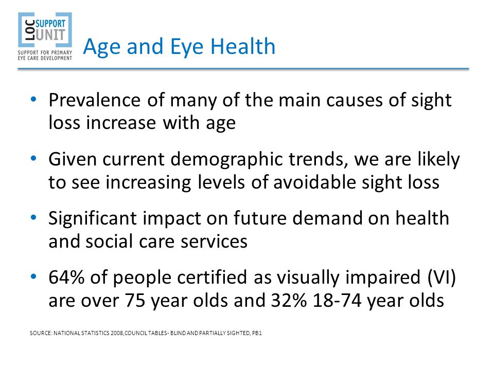 Age and Eye Health Prevalence of many of the main causes of sight loss increase with age.