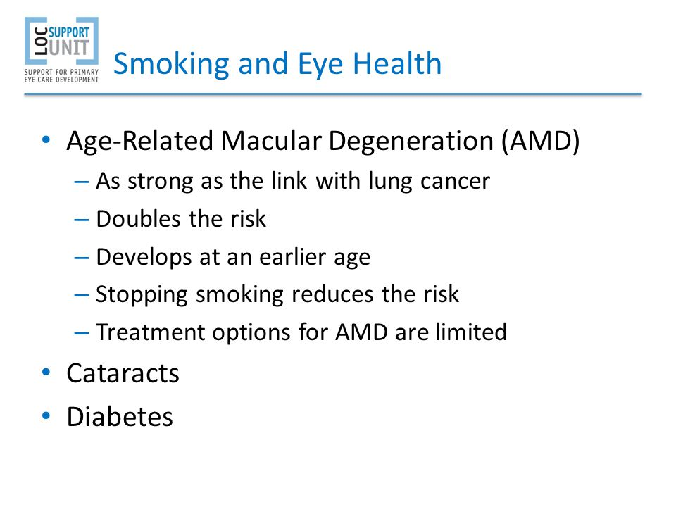 Smoking and Eye Health Age-Related Macular Degeneration (AMD)