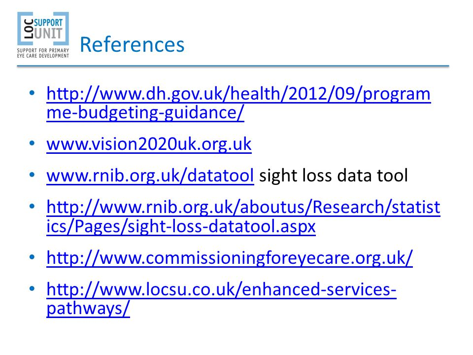 References http://www.dh.gov.uk/health/2012/09/program me-budgeting-guidance/ www.vision2020uk.org.uk.