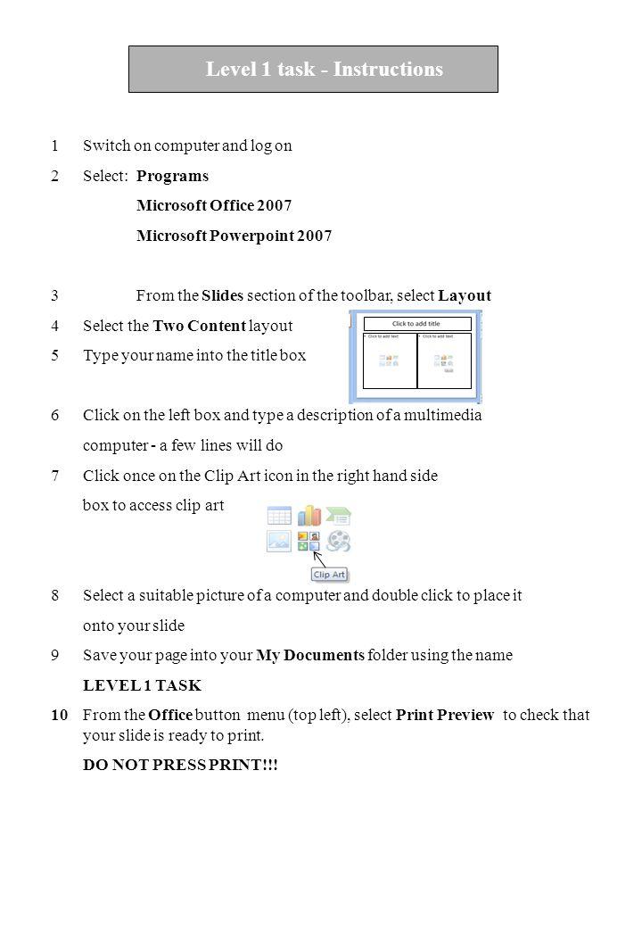 Level 1 task - Instructions