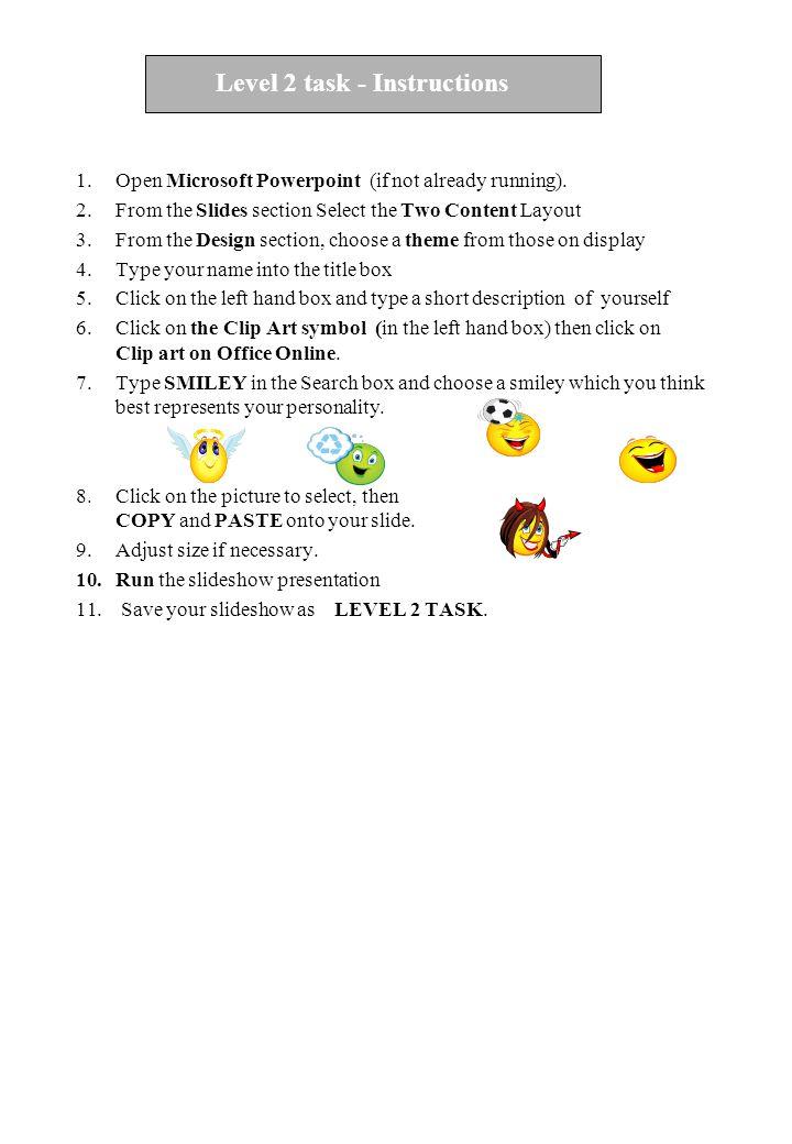 Level 2 task - Instructions