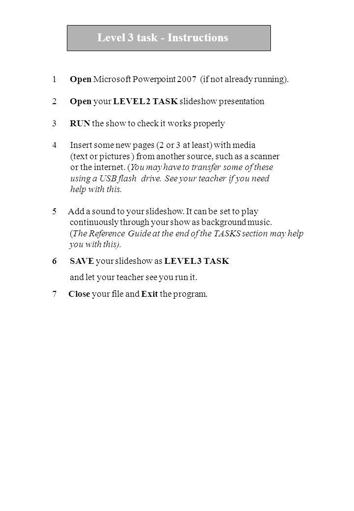 Level 3 task - Instructions