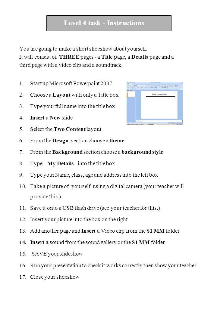 Level E task - Instructions