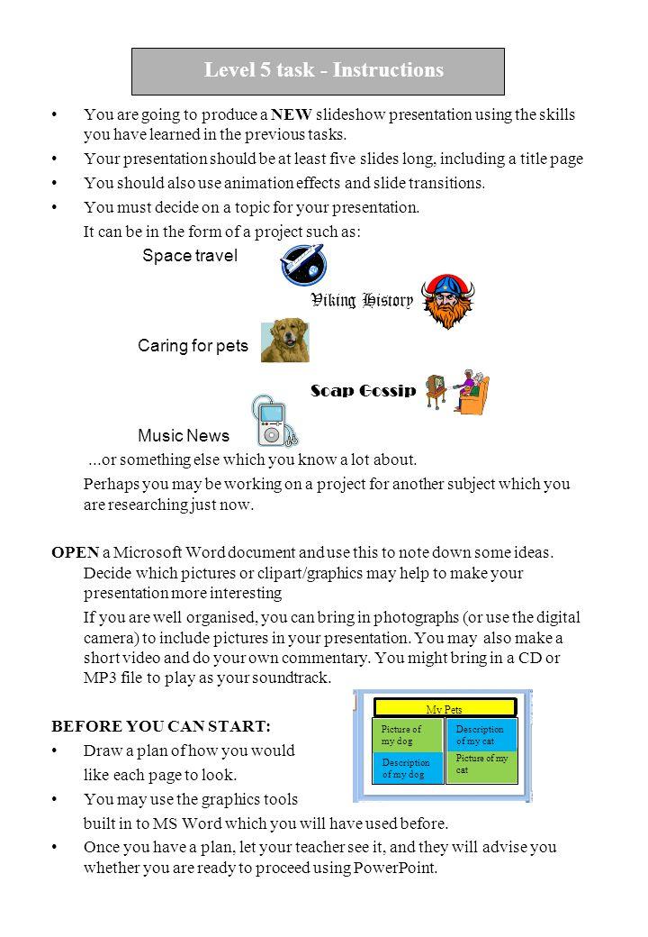 Level 5 task - Instructions