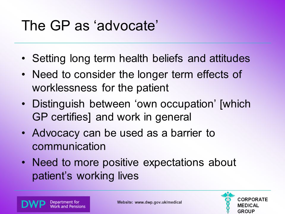 The GP as 'advocate' Setting long term health beliefs and attitudes