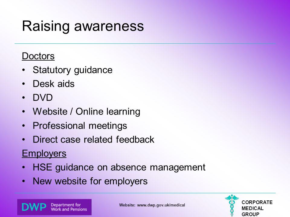 Raising awareness Doctors Statutory guidance Desk aids DVD