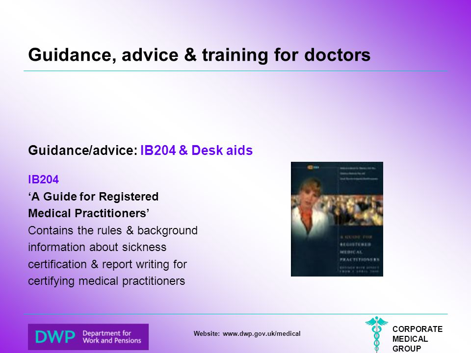 Guidance, advice & training for doctors