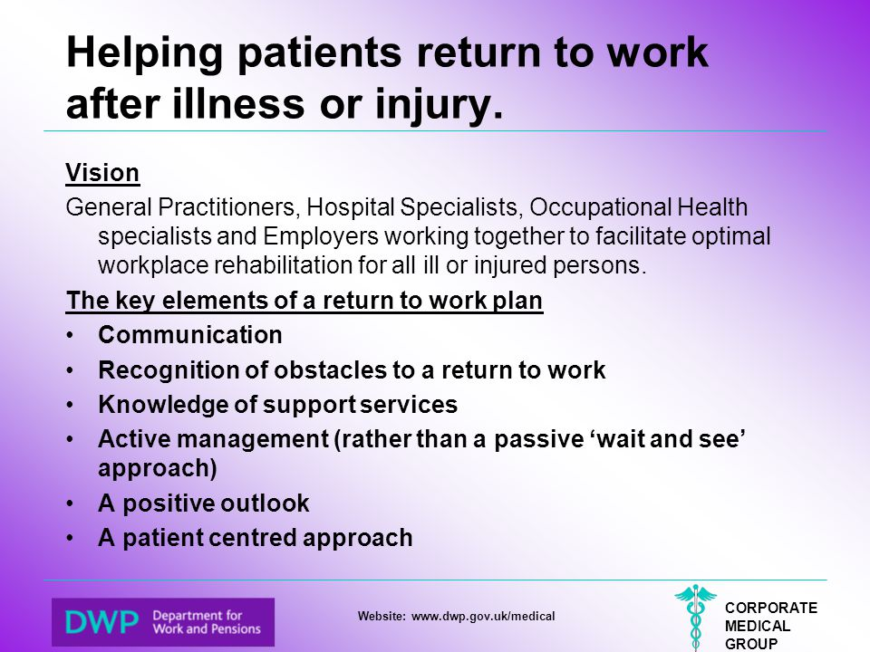 Helping patients return to work after illness or injury.