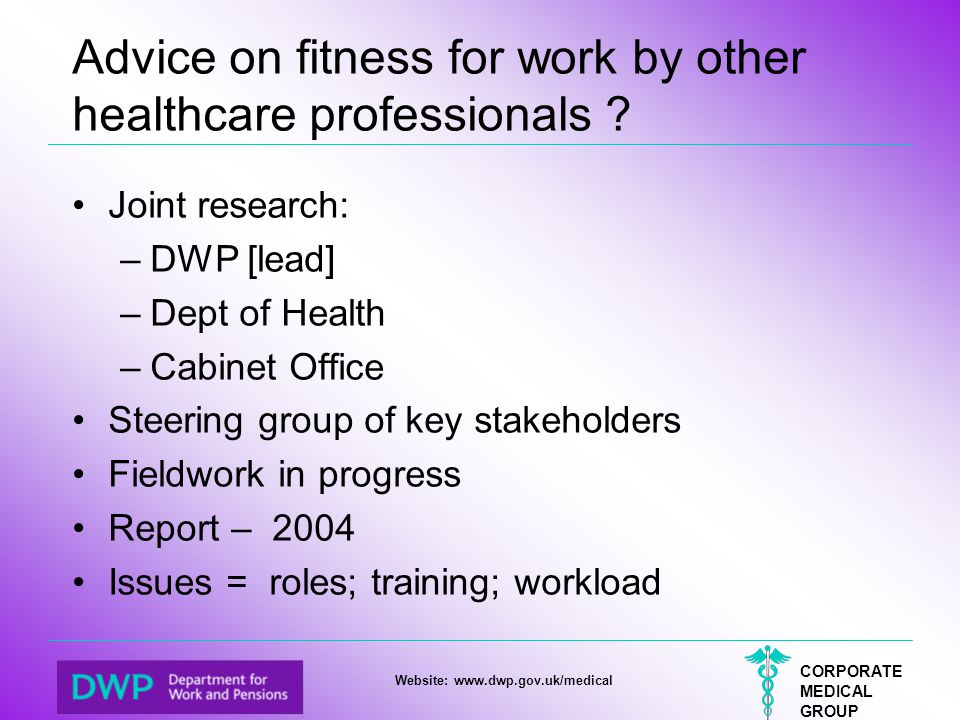 Advice on fitness for work by other healthcare professionals