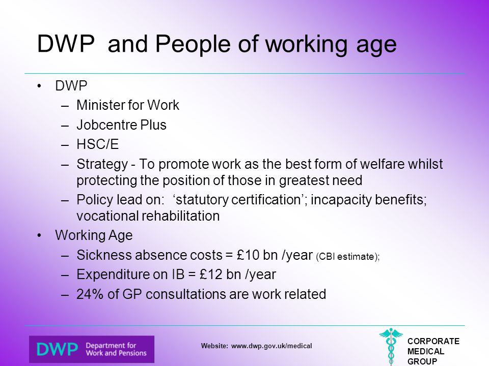 DWP and People of working age