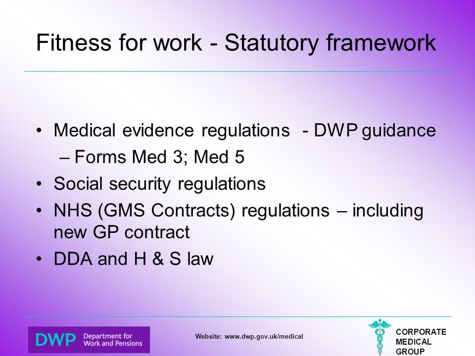 Fitness for work - Statutory framework