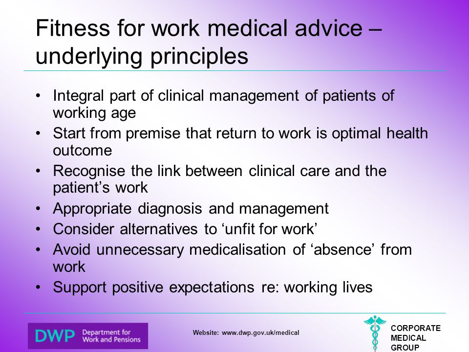 Fitness for work medical advice – underlying principles