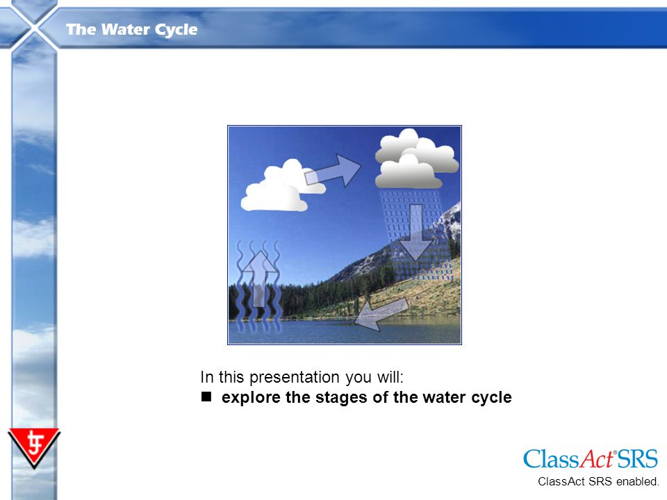 In this presentation you will: explore the stages of the water cycle