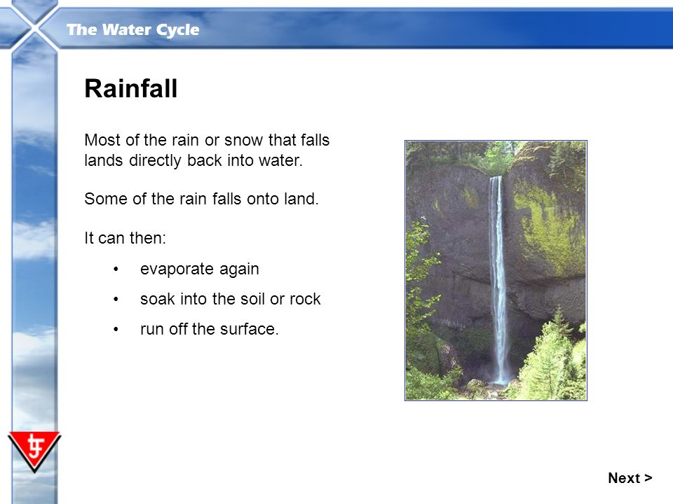 Rainfall Most of the rain or snow that falls lands directly back into water. Some of the rain falls onto land.
