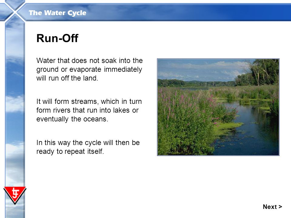 Run-Off Water that does not soak into the ground or evaporate immediately will run off the land.