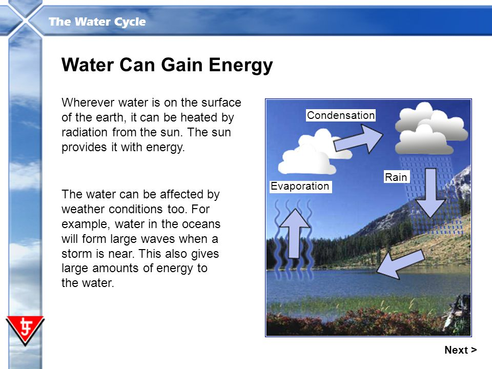 Water Can Gain Energy Wherever water is on the surface of the earth, it can be heated by radiation from the sun. The sun provides it with energy.