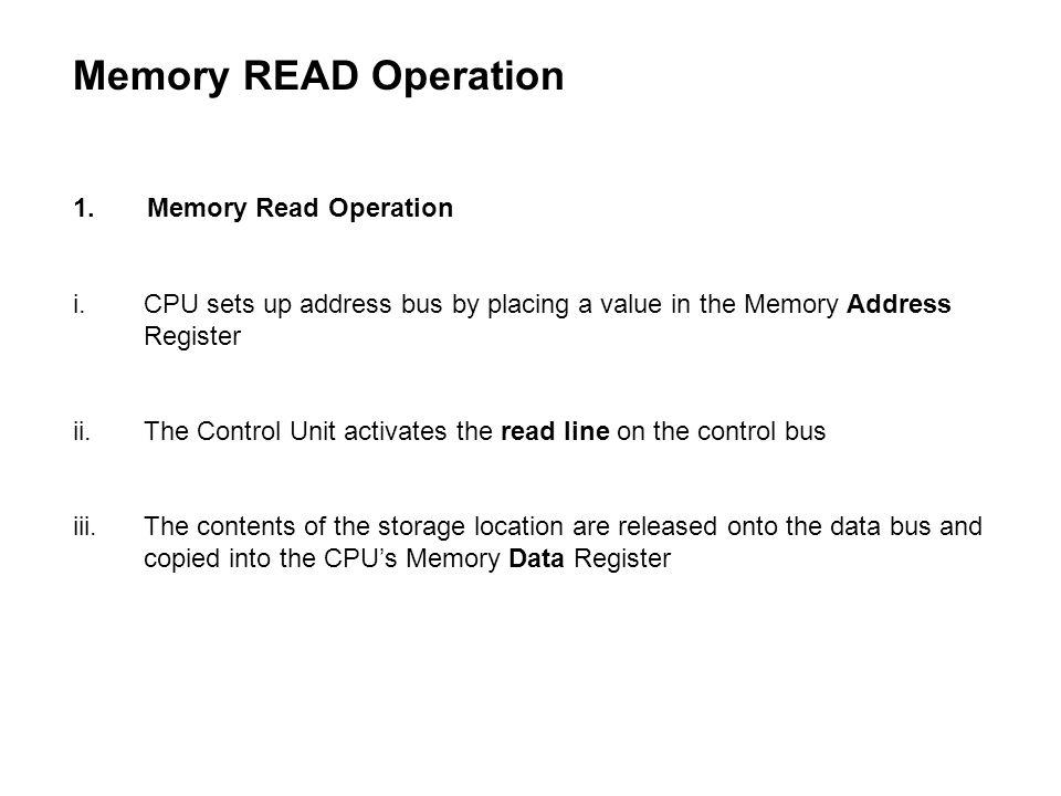 Memory READ Operation 1. Memory Read Operation